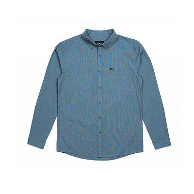 Brixton Central Long Sleeve Woven Shirt Heather Steel Skateboarding Fashion