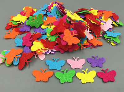 100pcs Mixed Colors Butterfly shape Felt Cardmaking Appliques decoration 22mm