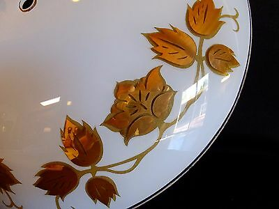 Mid Century Gold Flower~ Leaf Design Round White Glass Ceiling Light Cover Shade