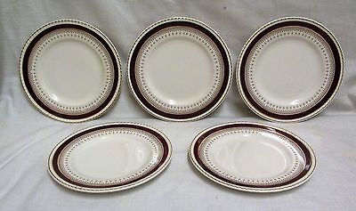 "5 6.5"" 1950's Solian Ware Simpsons Pottery Red & Gold Gilt Side Plates"
