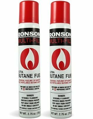 Ronson Multi-Fill Ultra Lighter Butane Fuel, 2.75 FL OZ - 78 g  (Pack of 2 Cans)