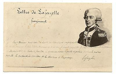"Fragment Of Manuelly Letter Written By Lafayette.""post Card""  Lettre Manuscrite"
