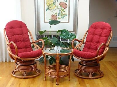 Set 2 Java Handmade Design Rattan Wicker Chair Red Cushion With Pelangi Table