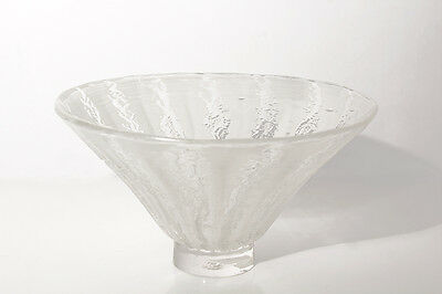 Vintage Glass Art Bowl/ Serving Bowl with Etched Relief Swirl Design. Gorgeous!