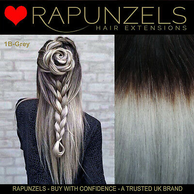 "20"" Full head black-silver grey ombre dip dye remy hair extensions weft clip in"