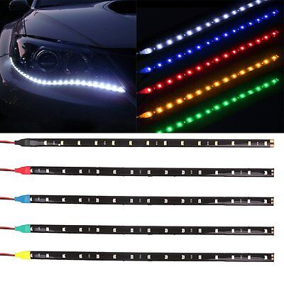 1X 15LED 30CM Car Motor Grill Flexible Waterproof Light Strip 3528 SMD 12V Decor