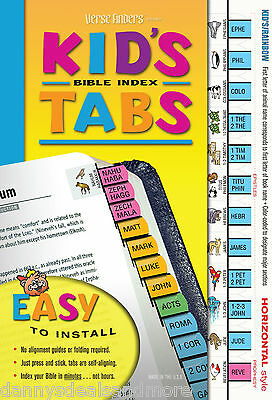 Kids Bible Book Index Labels Tabs - TEAR RESISTANT - EZ INSTALL Animal Theme