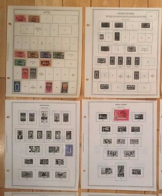 B81 Chad Tchad Stamps Minkus Pages 1922-1973 Hinged and extra empty sheets