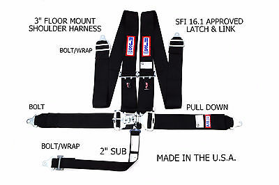 Rjs Racing Sfi 16.1 Latch & Link 5 Pt Floor Mount Harness Black 1130201