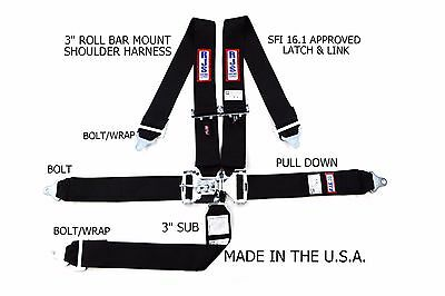 "Rjs Racing Sfi 16.1 5 Point 3"" Latch & Link Harness Belt Roll Bar Black 1128601"