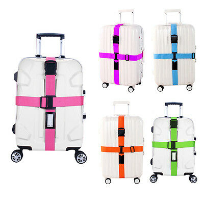 Outdoor Adjustable Travel Luggage Suitcase Bag Cross Strap Belt w/Clasp Baggage