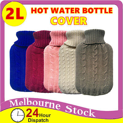 2.0 Litre/2L Hot Water Bottle Cover only Warmer Heat Soft Bag Large Grey knitted