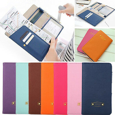 New Leather Ticket Protector Case Travel Passport Holder Document Bag Wallet
