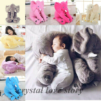 Long Nose Elephant Pillow Doll Toy Baby Sleeping Warm Lumbar Soft Plush Cushion