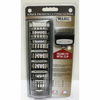 WAHL 8 Pack Premium Cutting Guides with Metal Clip &Tray #3171-500 Made in USA