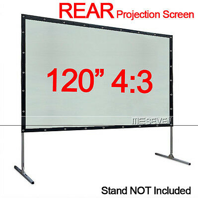 "120"" 4:3 PVC Portable Wall Mounted Back Rear Projection Screen for Any Projector"