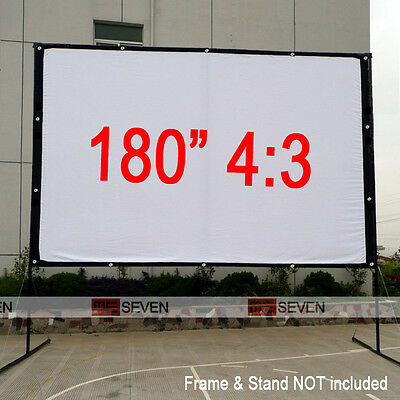 "180"" 4:3 Foldable Canvas Projection Screen Curtains Film for All Projector Beam"