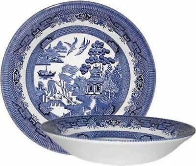 SET OF 6 BOWLS 20 cm CHURCHILL BLUE WILLOW SOUP GRAVY DINNER LUNCH BOWL