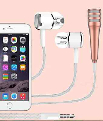 Gold 3.5mm Potable Mini Microphone Stereo Mic with earphone for phone laptop
