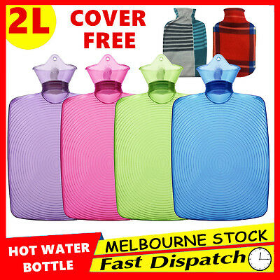 Free Cover 2L Hot Water Bottle Warmer Heat Soft Rubber Bag Classic Large
