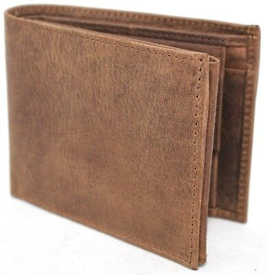 RFID  Quality Full Grain Hunter Vintage Leather Wallet. Brown. 12040