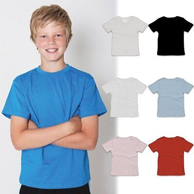 Kids Unisex Plain 100% Cotton T-shirt Blank Basic Youth Children Tee | Size 2-16
