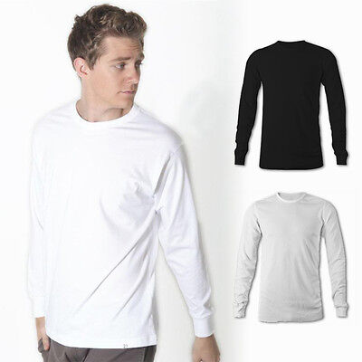 Mens Plain Longsleeve T-Shirt 100% Cotton Long Sleeve Blank Basic Adults Tee