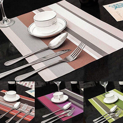 4 Pieces of PVC Insulation Kitchen Placemats Striped Place Pad Dining Table Mats