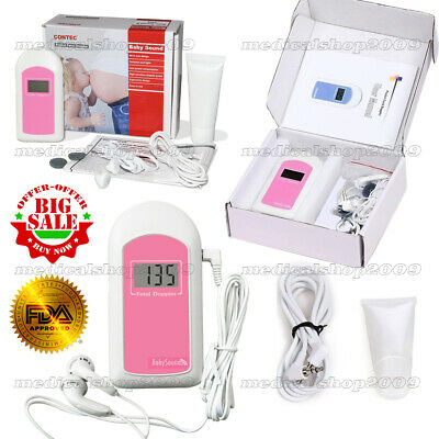 Free Gel +Audio Cable Ultrasound Pregnant Fetal Doppler Baby Heart Rate Moitor