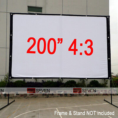 """200"""" 4:3 Projection Screen Curtains for All LED DLP 3D Smart HD Projector Beamer"""