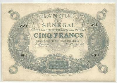Senegal 5 Francs   1874   Pick A1   Spl   Au   Cabasson