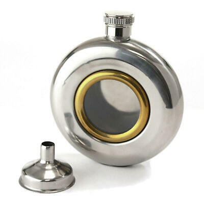 Round Window 5Oz Stainless Steel Hip Flask With Funnel Gift Mens Dad Wedding