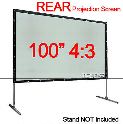 """100"""" Inch 4:3 PVC Material Wall Mounted Rear Projection Screen for Any Projector"""