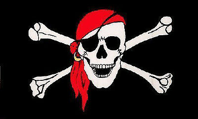 Skull Pirate Jolly Skull And Crossbones Red Bandana Large 5Ft x 3Ft Party Flag