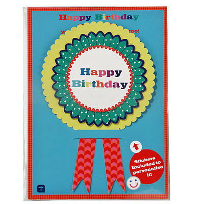 Talking Tables Happy Birthday Bash Rosette Pin Badge - Party Badge with Stickers