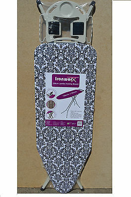 New Extra Large Wide Light Weight Steel Ironing Board Adjustable Rack 126 X 45cm
