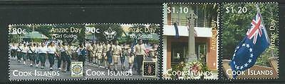 Cook Islands Sg1566/9 2010 Anzac Day Mnh