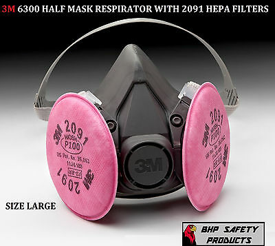 3M 6300 Half Mask Respirator With P100 Filter Cartridges Size Large 6391