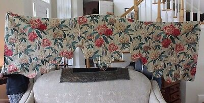 Antique French Hand Blocked & Hand Painted Chintz Valance Curtain c1860~Home