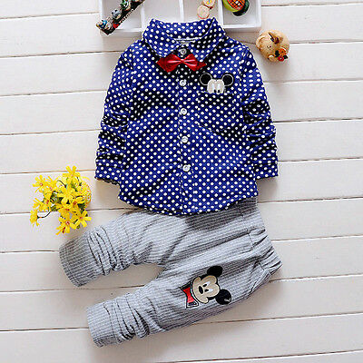 2PC Baby Boys Clothing Wedding Suits Casual Cotton Mickey Print Bow Srtiped Sets