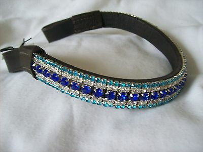 BLING*Leather Mega-Sparkly Browband*5-Row Crystals*BLUES*Dressage*Black or Brown