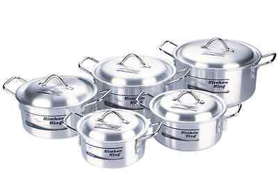 Aluminium 10Pc Kitchen Cooking Pan Saucepan Pot Set Lid Cookware Casserole Stock