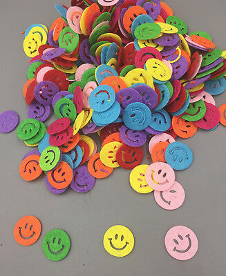 200pcs Mixed Color Smiley face Die Cut Felt Appliques Cardmaking decoration 17mm