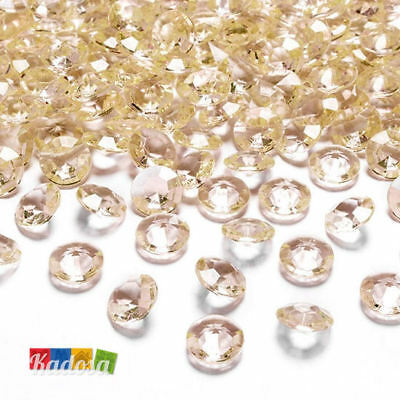 100 Diamanti Decorativi 12 mm PESCA - Diamantini Centrotavola Party Avorio Oro
