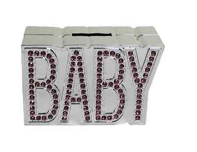 New Silver Plated Pink Diamante Baby Money Bank/box