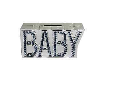 New Silver Plated Blue Diamante Baby Money Bank/box