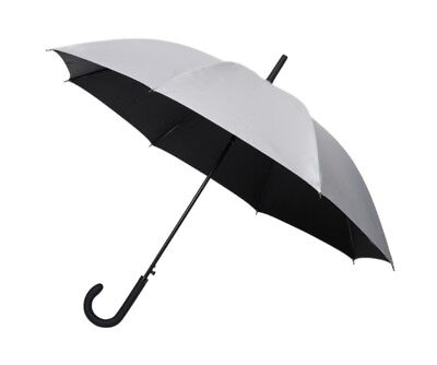 Automatic Golf Umbrella with Rain & UV Sun Protection Silver & Black Canopy NEW