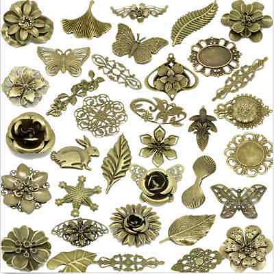 Bronze Connectors Embellishments Findings Jewelry Making Filigree Flower DIY@1