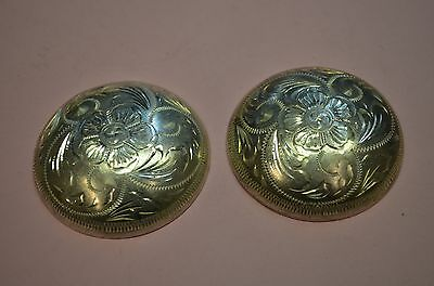 """FLEMING Sterling Silver Hibiscus High Domed Conchos for Saddles & Chaps  2"""""""