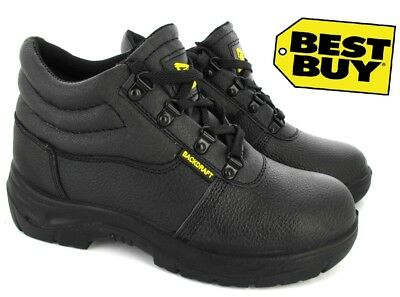 Chukka Safety Boots Mens Black Steel Toe Work Shoe Lace Traines Midsole Sz 4-12